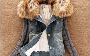 Dámská džínová bunda s kožešinou Saniya