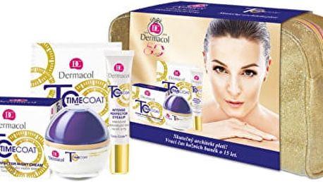 Dermacol Time Coat Day Cream intenzivně zdokonalující denní krém 50 ml + pleťová maska Time Coat 8 ml + krém na oči a rty Time Coat 15 ml