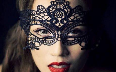 Černá krajková maska deluxe