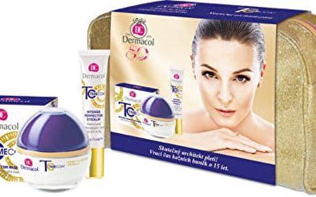 Dermacol Time Coat Day Cream intenzivně zdokonalující denní krém 50 ml + Time Coat Eye & Lip Cream intenzivně zdokonalující krém na oči a rty 15 ml + etue dárková sada + DERMACOL Zvláčňující balzám na rty Love Lips SPF 15 3,5 ml ZDARMA!