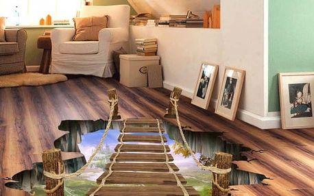 3D samolepka na podlahu - Most přes propast - dodání do 2 dnů