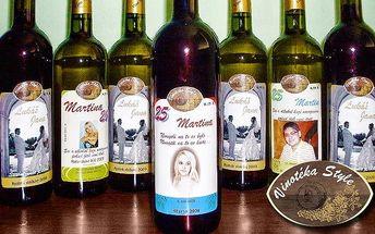 Láhev vína dle výběru s vlastní etiketou