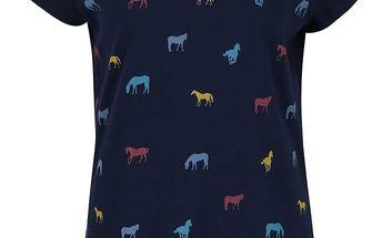 Tmavě modré tričko s potiskem koní Brakeburn Horses