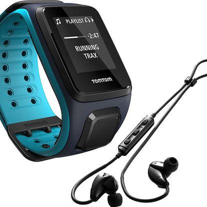 TOMTOM Runner 2 Cardio + Music (velikost L), modrá/modrá + bluetooth sluchátka - 1RFM.001.05