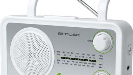 Radiopřijímač MUSE M-05 stříbrný/bílý