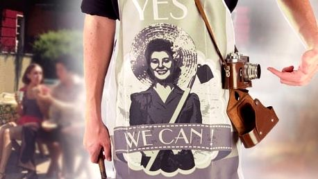 Retro zástěra YES WE CAN