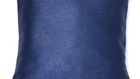 Modrý polštář Casa Di Bassi Pom Pom, 40x40cm