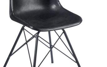 Sada 2 černých kožených židlí J-Line Cross - doprava zdarma!