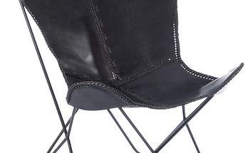 Černé kožené křeslo Lounge - doprava zdarma!