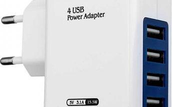Univerzální USB adaptér se čtyřmi porty v bílé barvě