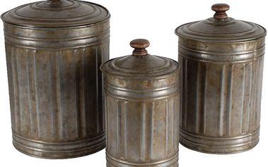 Sada 3 zinkových dóz s víkem Antic Line Vintage