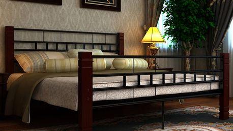 Kovová postel s dřevěnými nohami, 140 x 200cm Dekorhome 180 x 200 cm