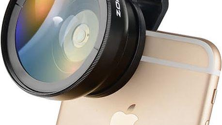 Širokoúhlý objektiv + makro objektiv na mobilní telefon