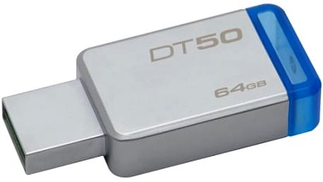 USB Flash Kingston 64GB (DT50/64GB) modrý/kovový