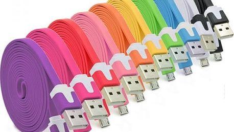 Plochý nabíjecí microUSB kabel - více barev