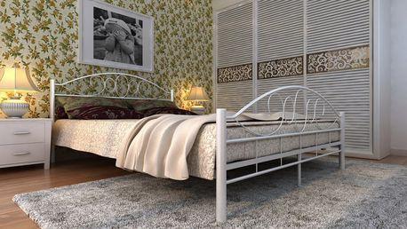 Kovová posteľ krémová s roštom Dekorhome 180 x 200 cm