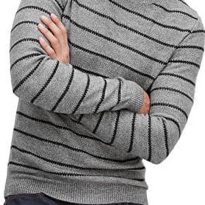 s.Oliver Pánský šedý svetr s proužky M + s.Oliver vak