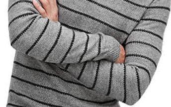 s.Oliver Pánský šedý svetr s proužky XL + s.Oliver vak
