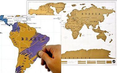 Stírací mapa světa pro všechny cestovatele