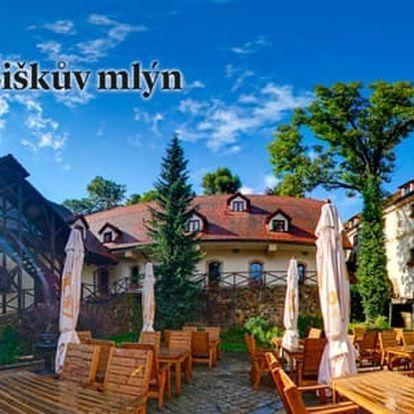 Hotel Šiškův mlýn **** u Telče s polopenzí a bazénem, děti zdarma