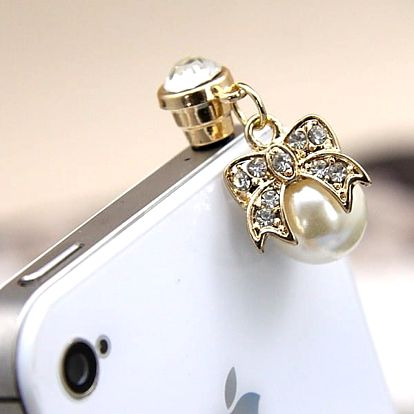 Kryt konektoru na sluchátka - perla s mašlí