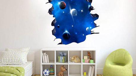 3D samolepka na zeď - díra do vesmíru