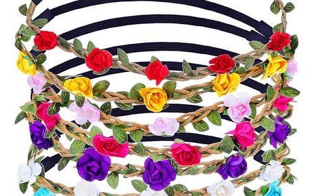 Elastická květinová čelenka do vlasů 7 ks