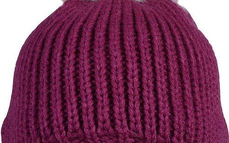 CAPU Zimní čepice s bambulí z polární lišky Burgundy-Pink 1828-D