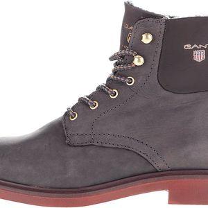 Tmavě šedé dámské kožené kotníkové boty GANT Ashley