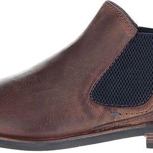 Tmavě hnědé pánské kožené kotníkové chelsea boty bugatti Abramo