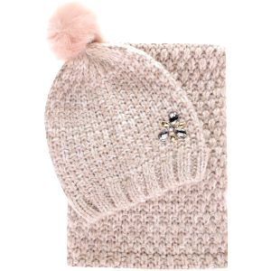 Krémový dámský dárkový set pletené čepice se šálou Something Special