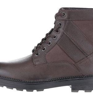 Tmavě hnědé pánské kožené kotníkové boty Clarks Tyrus Rise