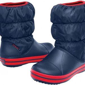 Crocs Dětské modré holínky Winter Puff Boot Kids Navy/Red 14613-485 30-31