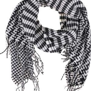Černo-bílá šála s třásněmi VILA Edel