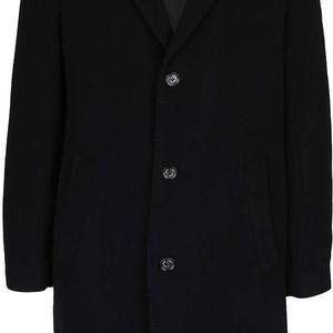 Černý pánský vlněný kabát s příměsí kašmíru bugatti