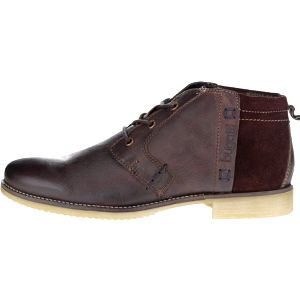 Tmavě hnědé pánské kožené kotníkové boty bugatti Brian