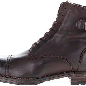 Tmavě hnědé kožené kotníkové boty s přezkami Jack & Jones Siti