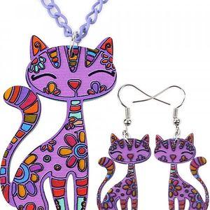 Veselý set náušnic a náhrdelníku s kočkami - různé barvy