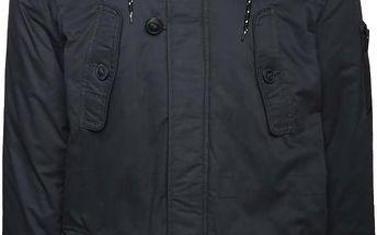 Tmavě modrá bunda s kapsami a umělým kožíškem Burton Menswear London