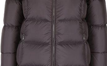 Šedý dámský delší kabát s umělým kožíškem Geox Down