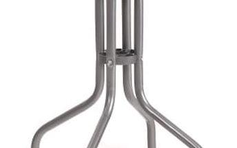 Stolek kovový se skleněnou deskou (stříbrná)
