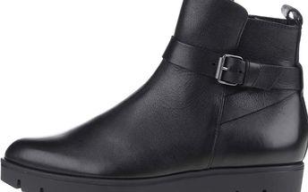 Černé dámské kožené kotníkové boty s páskem Högl