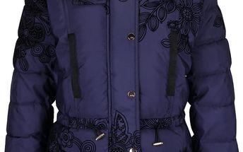 Tmavě modrá prošívaná bunda s kožíškem Desigual Ada