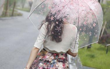 Průhledný dámský deštník s kvítky - dodání do 2 dnů