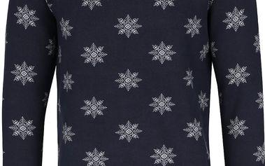 Tmavě modrý svetr se vzorem vloček Selected Homme Snow