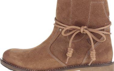 Hnědé semišové kotníkové boty s umělou kožešinou Tamaris