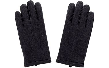 Tmavě šedé kožené rukavice s příměsí vlny Jack & Jones Max