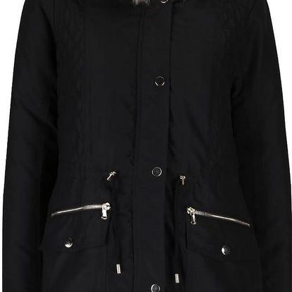 Černá parka s kapucí z umělé kožešiny Dorothy Perkins