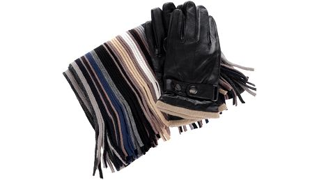 Pánský dárkový set šály s koženými rukavicemi v černé barvě Something Special