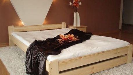 Kvalitní dřevěná postel včetně 13-14cm zdravotní matrace a roštu, 6 rozměrů až do 180x200 cm